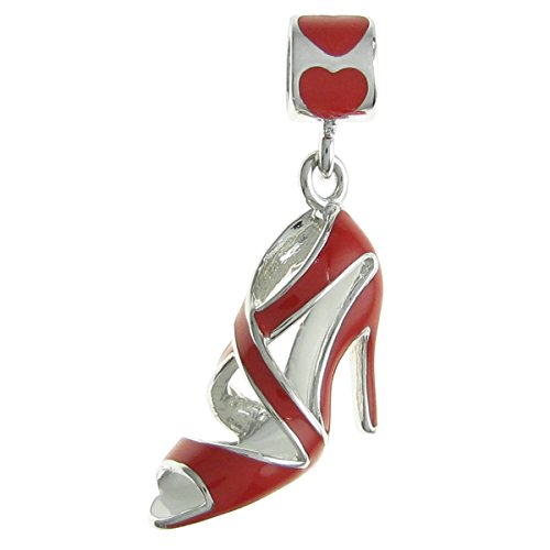 Rhodium-plated Sterling Silver Red High Heel Shoe Enamel European Style Dangle Bead Charm