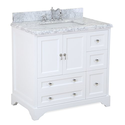Madison 36-inch Bathroom Vanity (Carrara/White): Includes Italian Carrara Marble Top, White Cabinet with Soft Close Drawers & Doors, and Rectangular Ceramic Sink (Bathroom Vanity 35 compare prices)