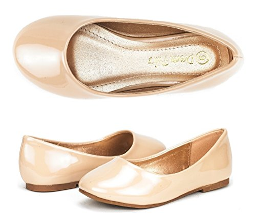 Dream Pairs MUY Mary Jane Casual Slip On Ballerina Flat (Toddler/ Little Girl) New Nude Patent Size 11