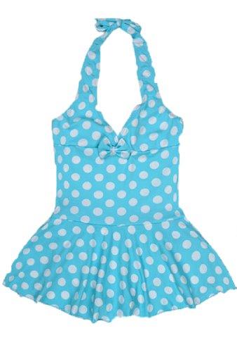 Children's Wave Point One Piece Swimwear Bikini(Blue,14) image