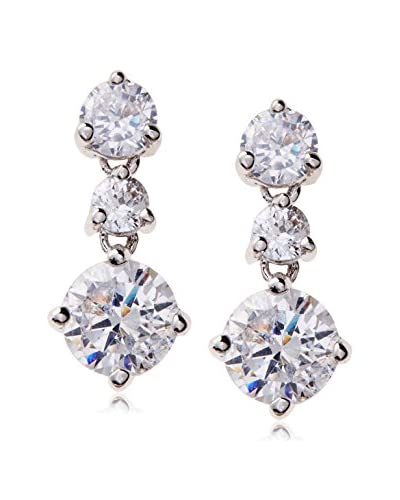 CZ by Kenneth Jay Lane Triple Round CZ Drop Post Earrings