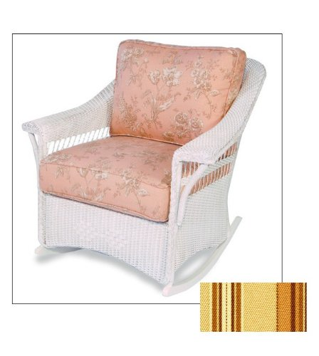 Lloyd-Flanders 51033071404 Nantucket Lounge Rocker in Antique White finish and Baccio fabric