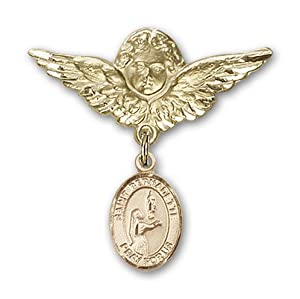 14K Gold Baby Badge with St. Bernadette Charm and Angel with Wings Badge Pin