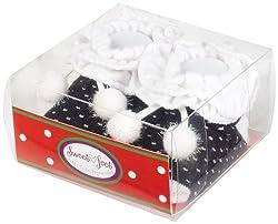 Country Kids Baby-girls Newborn Sparkly Pom Pom Booties, Black, 0-12 Months