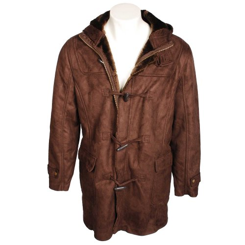 Fletcher & Lowe Mens Chocolate Bonded Duffle Coat in Size Large