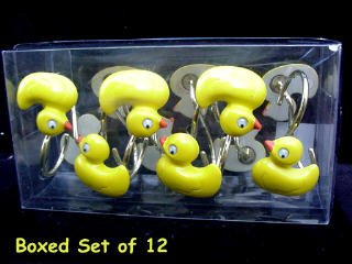Shower Curtain Rings Rubber Duckie Ducky Duck SHOWER CURTAIN HOOKS