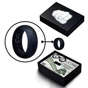 XYZlicone Black Silicone Wedding Band | Perfect Wedding Ring Supplement | Wrapped in an Awe-inspiring Stylish Gift Box Anyone Would Love to Receive | 2 Packs (1 Ring is a Size Larger for Optimal Fit)