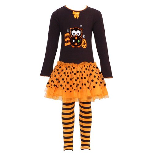 Bonnie Jean Girls Halloween Boo Owl Fall Dress Outfit Set, Orange, 3T front-1078377