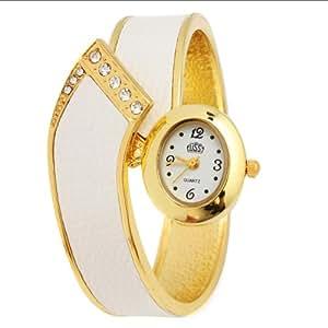 BestOfferBuy - Montre Femme à la Mode Bracelet Manchette Rigide en Peau de Serpent - Couleur : Blanc