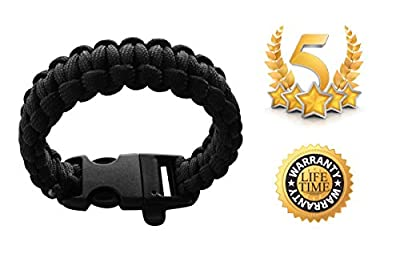 Paracord Survival Bracelet - #1 Survival & Hunting Gift For Men. Ideal For Camping, Hiking, Hunting. Includes Emergency Whistle and Lifetime Warranty!