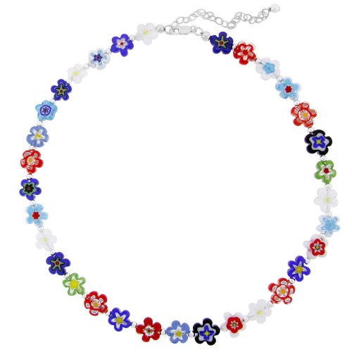 Hand -Blown Multi-Colored Flower Glass Bead and Sterling Silver Bead Necklace, 16+3