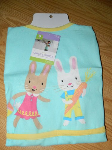 Child's Cotton Art Cooking Smock - Green with Bunnies - 1