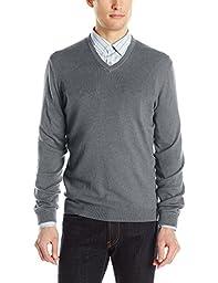 Calvin Klein Men\'s Cotton Modal V-Neck Sweater, Lock Box Heather, XX-Large