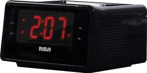 rca dual alarm clock ipod charging station with digital fm radio tuner large led display. Black Bedroom Furniture Sets. Home Design Ideas