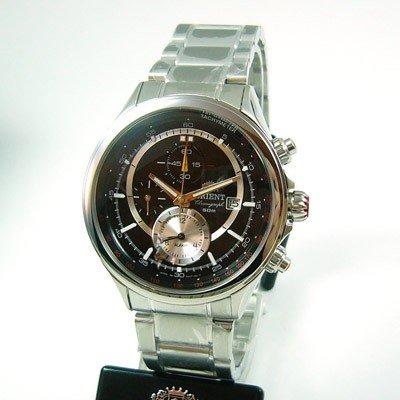 ORIENT Alarm Chronograph Tachymeter Stahl Herrenuhr Datum CTD0T005B0