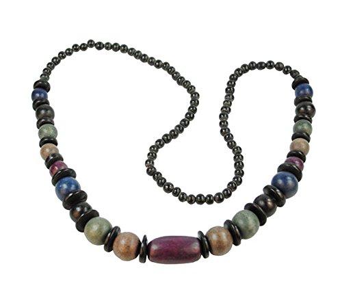 Halskette Thordis aus Holz Farbe schwarz/violett/petrol/blau Länge 90 cm