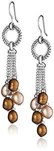 """Honora """"Skinny Jeans"""" Chocolate Freshwater Cultured Pearl and Smoky Quartz Dangle Earrings"""