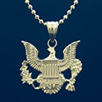 US Army Pendant Necklace - .925 Sterling Silver Chain And Charm - United States Army Military Jewelry - Soldier Gifts For Men And Women - USA Armed Forces Pendant