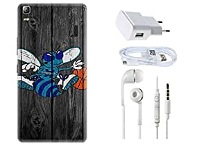 Spygen Lenovo A7000/ K3 Note Case Combo of Premium Quality Designer Printed 3D Lightweight Slim Matte Finish Hard Case Back Cover + Charger Adapter + High Speed Data Cable + Premium Quality Handfree