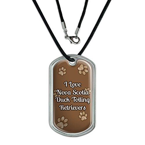 Dog Tag Pendant Necklace Cord I Love Heart Dogs N-R - Nova Scotia Duck Tolling Retrievers