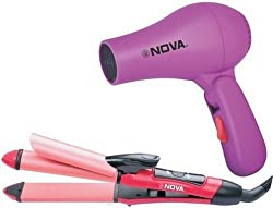 Nova NHS-800 Professional Straightener and curler with Nova  Hair Dryer (Combo)