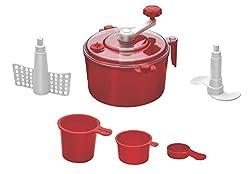 Floraware 5-Piece Atta Dough Kneader Maker with Cut Chop Kitchen Set, Red