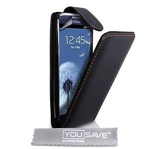 Samsung Galaxy S3 Etui Noire Cuir Flip Avec Magnétique Attache Pour Avec Ecran Protecteur Yousave Accessories