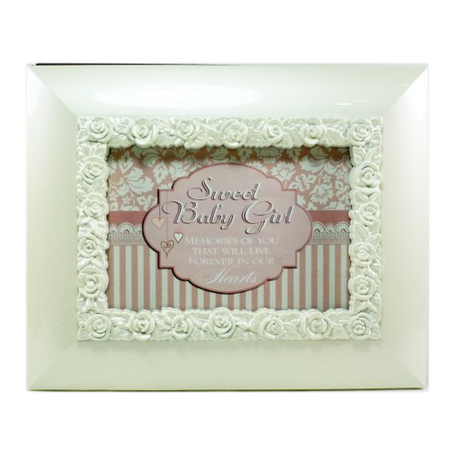 """Sweet Baby Girl"" White Gloss Flip Photo Frame Album - Holds 50 Standard-Sized 4""x6"" Photos"