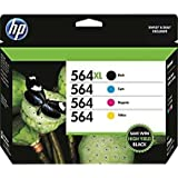 HP 564XL/564 High Yield Black and Standard C/M/Y Color Ink Cartridges (In Retail Packing)