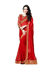 Crystal Chiffon Red Coloured Designer Saree SABPE3001