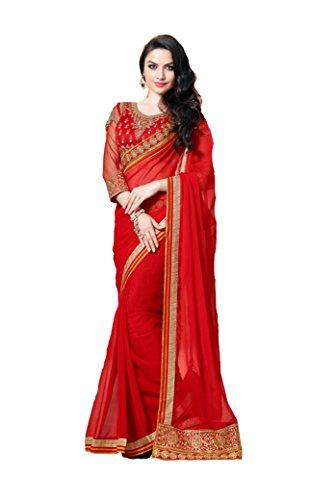 Crystal Chiffon Red Coloured Designer Saree SABPE3001