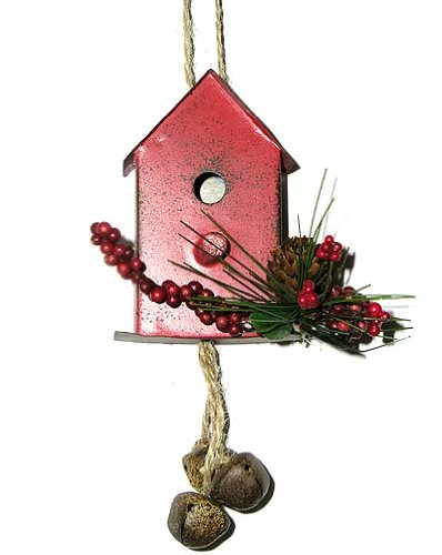 6″ Red Vintage Tin Bird House Christmas Ornament