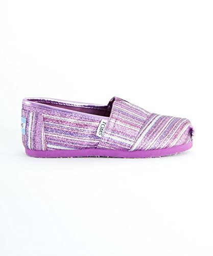 Toms Youth Classics Purple Glitter Stripe 2
