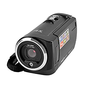 PowerLead CAM06 720P 16MP Digital Video Camcorder Camera DV DVR 2.7inch TFT LCD 16x ZOOM for Gifts-Black