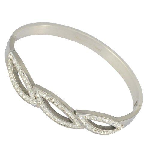 Kadima Stainless Steel Bangle With Clear Gemstone