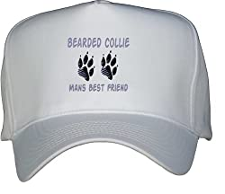 BEARDED COLLIE MAN'S BEST FRIEND White Hat / Baseball Cap