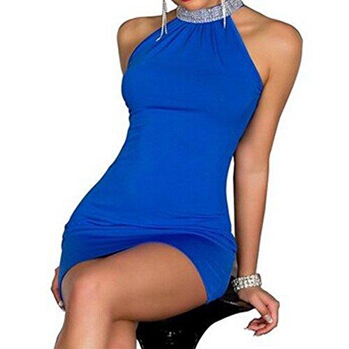 HSG Frauen Schwarz Sexy Dessous -Kette Rückenfreies Sommerkleid Kurze Mini-Kleid Schwarz Sexy Dessous Club-Wear Cocktail Abendkleid Kleid Damen Kleider