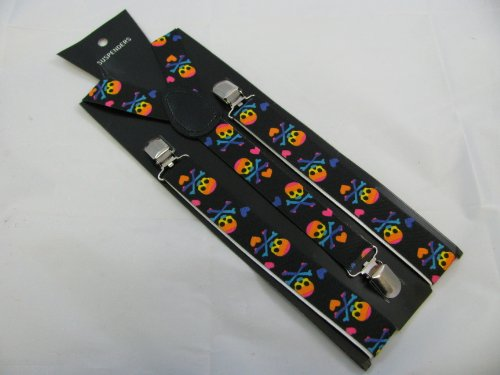 Pair of black fashion braces [suspenders] with rainbow skulls and hearts. 2.5cm wide. Adjustable with metal adjusters and snap fasteners.