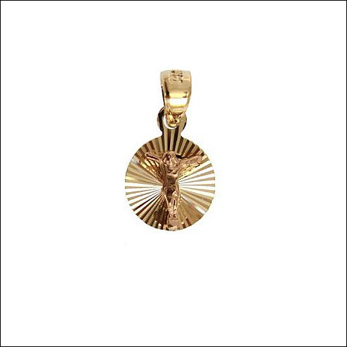 14k Yellow Gold, Christ Jesus Crucifixion Religious Pendant Charm 11mm Wide