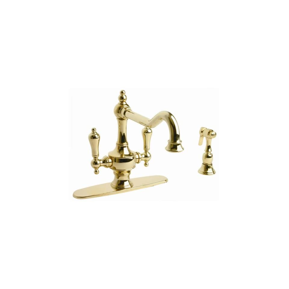 Isonzo Two Handle Centerset Kitchen Faucet with Side Spray Finish Millenium Brass