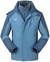 Outdoors Men39s Polyester Climbing Warm Waterproof 3-in-1 hiking Jacket - BlackOrange - XXL