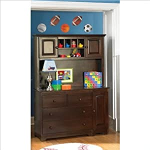 Atlantic Furniture Windsor Changing Table and Hutch in Antique Walnut