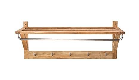 Estante, moderno Simple Roble de madera maciza Protección del medio ambiente Estante 5 ganchos Woody Ganchos de ropa Barra de curvatura hall Bastidores