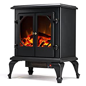 Townsend Free Standing Electric Fireplace Stove 24 Inch Black Portable Electric