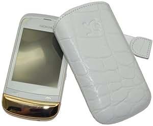 Original Suncase Echt Ledertasche (Lasche mit Rückzugfunktion) für Nokia C2-02 Touch / Type in croco-weiß