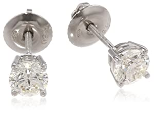 IGI-Certified 18k White Gold Round-Cut Diamond Studs (1 cttw, H-I Color, SI1-SI2 Clarity)