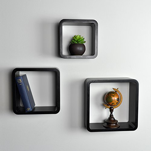 Modern Set of 3 Wall Mounted Black Modular Square Wood Storage Shelves / Floating Cube Shaped Box Display (Modular Wall Storage Organizer compare prices)