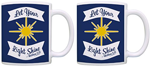 Christian Gifts Let Your Light Shine Motivational Religious 2 Pack Gift Coffee Mugs Tea Cups Blue (License Plate Frame Motivational compare prices)