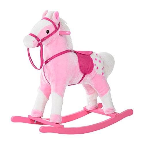 Qaba Kids Plush Rocking Horse Pony w/ Realistic Sounds - Pink