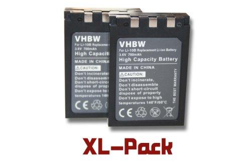 2 x vhbw Akku Set 700mAh für Kamera Olympus µ mju 300, mju 400, mju 410, mju 500 Digital, mju 600, mju 800, mju 810, mju 1000, IR-500 wie Li-10B/12B